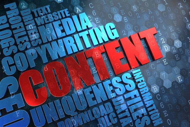 コンテンツ-デジタル背景に青いwordcloudと赤いメインワード。 Premium写真