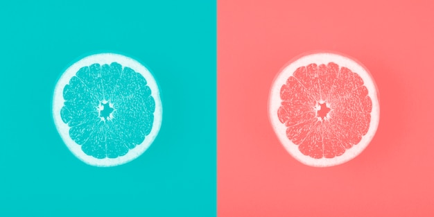 Contrast blue and coral backdrop with grapefruit slice Free Photo