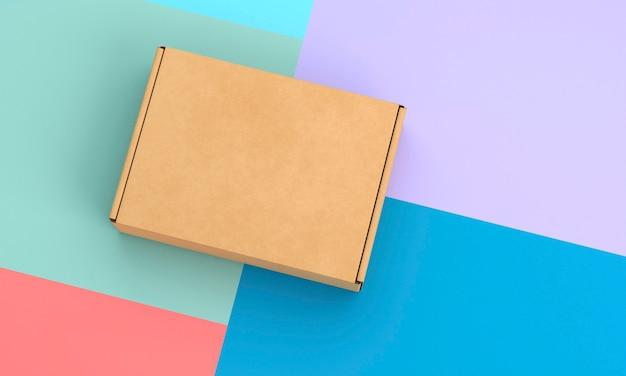 대조 된 배경 및 갈색 골판지 상자 프리미엄 사진