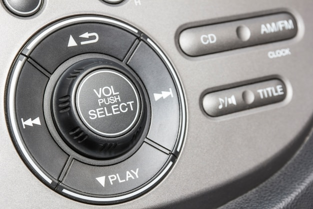 Control panel of audio player and other devices of the car Premium Photo