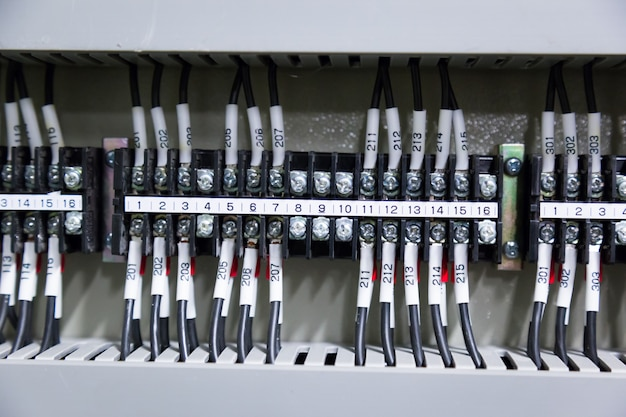 Control panel in the control roomcurrent  electric. Premium Photo
