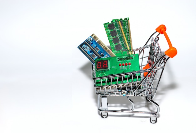 Control panel element on a white background in the shopping cart Premium Photo