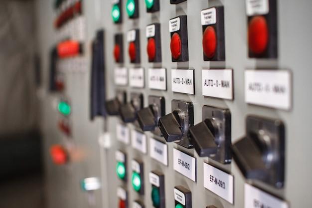 Control panel of temperature control units, selective focus. Premium Photo