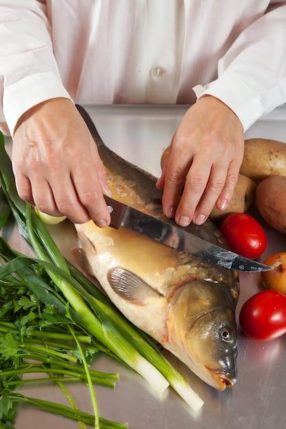 Cook cooking carp fish Free Photo