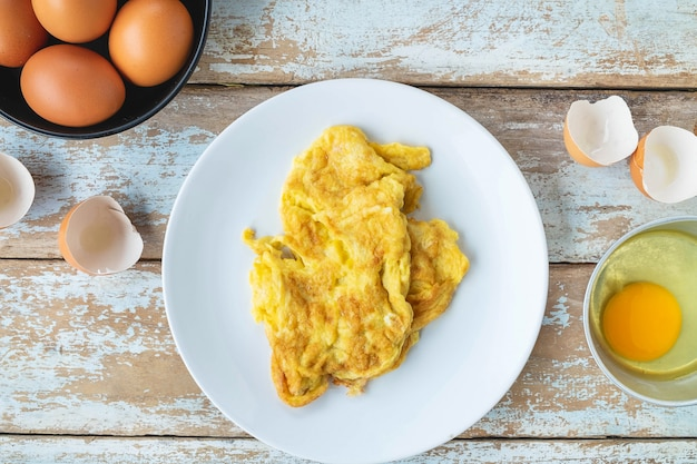 Cooked omelet menu Premium Photo