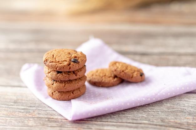 Cookies are stacked on handkerchiefs Premium Photo