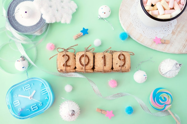 Cookies figures 2019 with festive christmas winter decor on a bright punchy colors Premium Photo