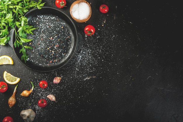 Cooking background with spices Premium Photo