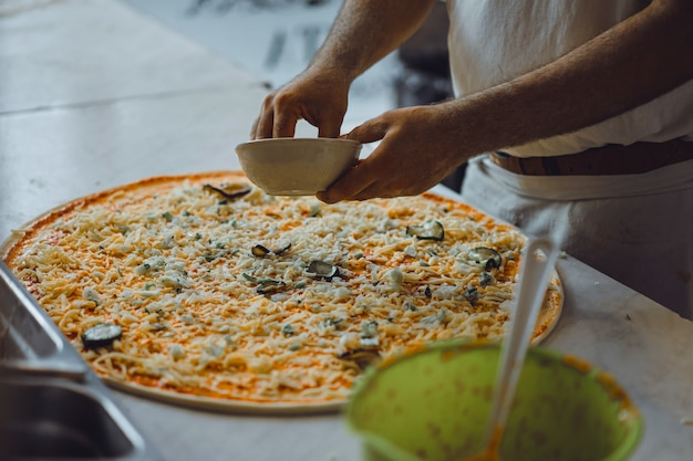 Cooking big pizza Free Photo
