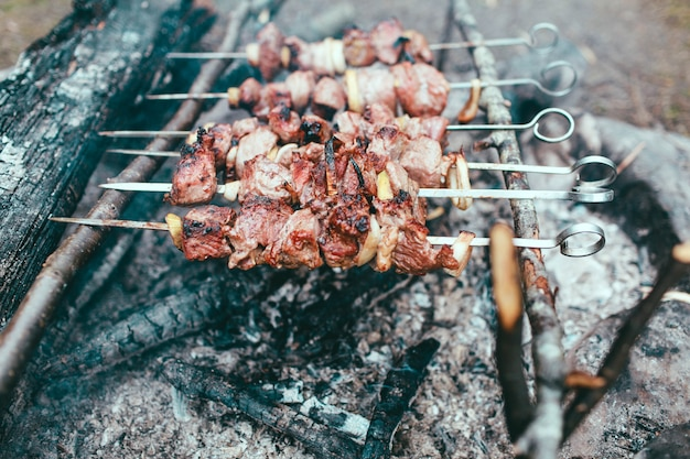 Cooking kebabs on fire grilled meat on the fire Premium Photo