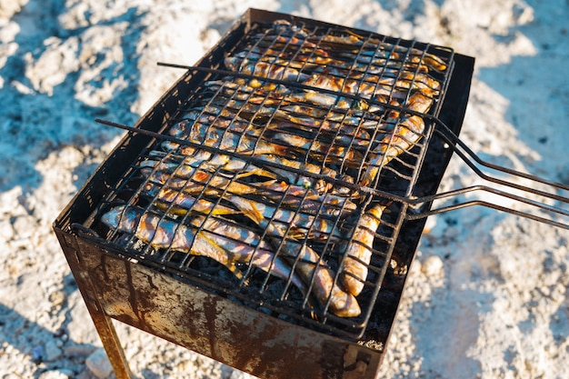 Cooking small fish on the grill on the beach Premium Photo