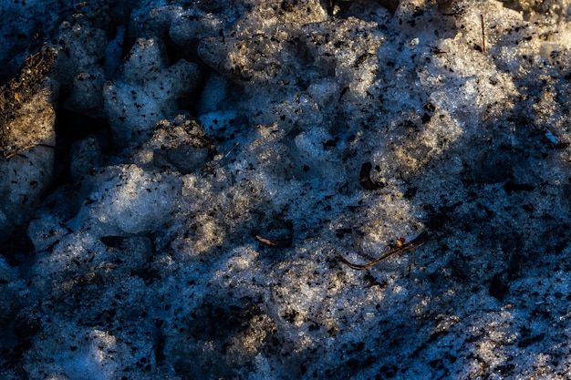 Cool background of muddy and frozen ground with interesting textures - great for a cool wallpaper Free Photo