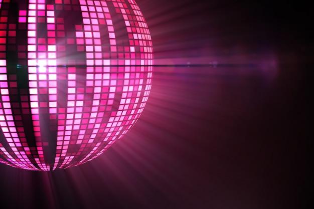 Cool disco ball design in pink Premium Photo