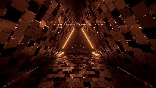 ネオンレーザー光で幾何学的な三角形のクールな図形-背景に最適 無料写真