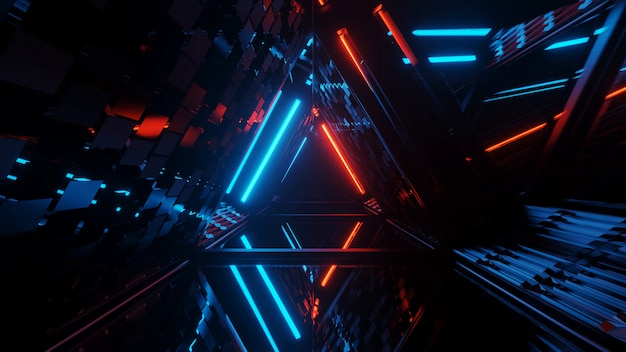 네온 레이저 조명의 멋진 기하학적 삼각형 그림-배경 및 배경 화면에 적합 무료 사진