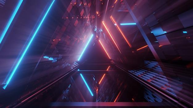 Fantastica figura triangolare geometrica in una luce laser al neon - ottima per lo sfondo Foto Gratuite
