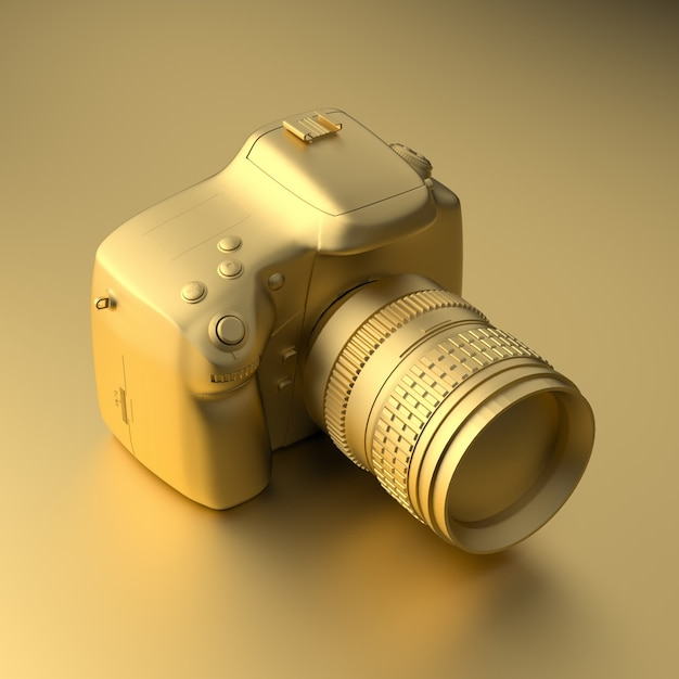 Cool gold professional camera on gold in minimal style Premium Photo
