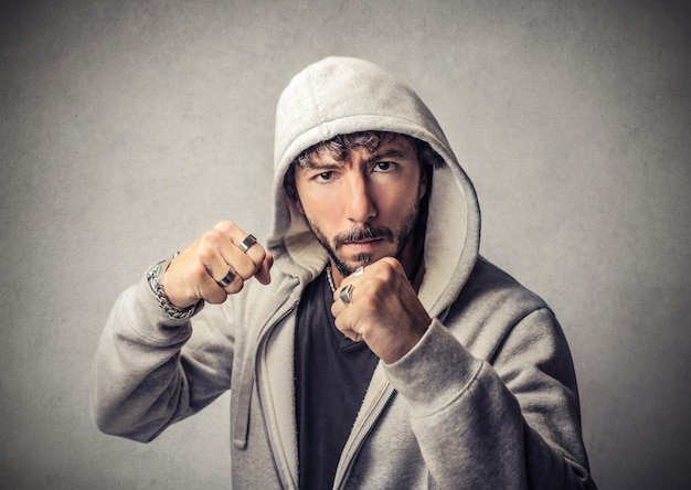 Cool guy ready to fight Premium Photo