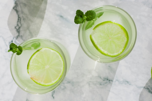 Cool lime drink in glasses Free Photo