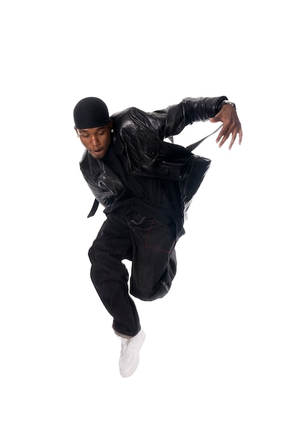 Cool young hip-hop man on white background Free Photo