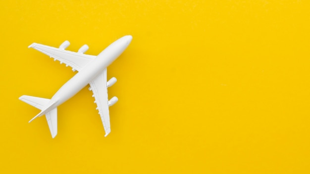 Copy-space airplane toy on table Free Photo