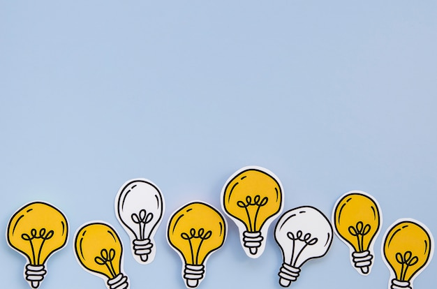Copy space background of idea light bulb metaphor concept Free Photo