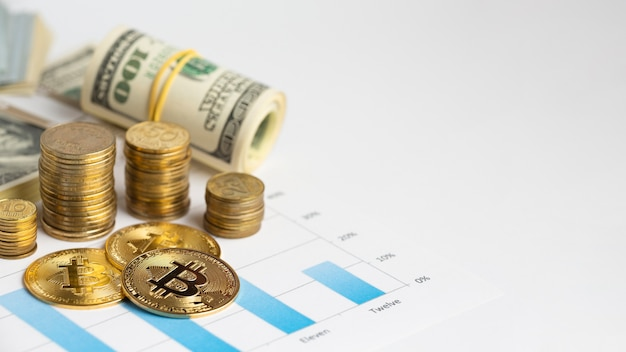 Copy-space bitcoin on top of graph Free Photo