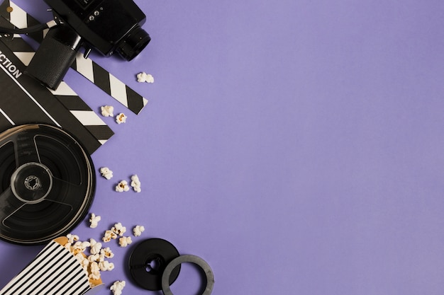 Apparecchiature cinematografiche copy-space Foto Gratuite