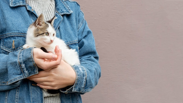 Copy-space cute cat sitting in owner arms Free Photo