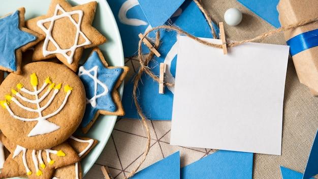 Копирование космической поздравительной открытки традиционной еврейской концепции хануки Бесплатные Фотографии