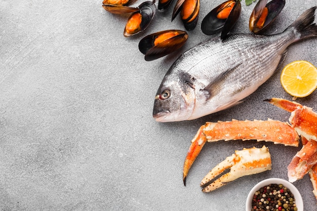 Copy-space mix of delicious seafood Free Photo