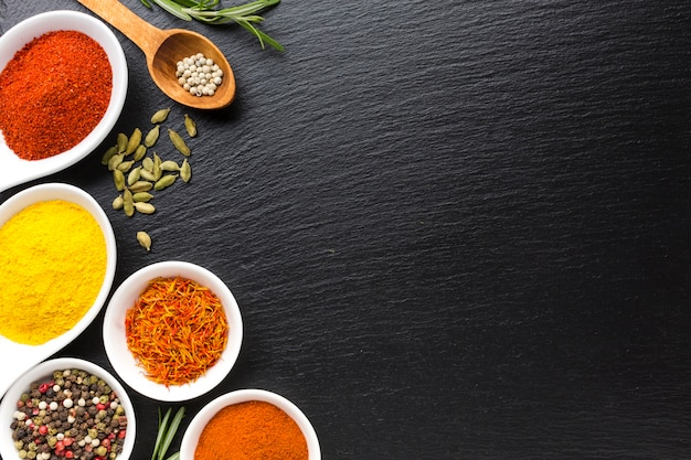 Copy-space mix of powder spices Free Photo