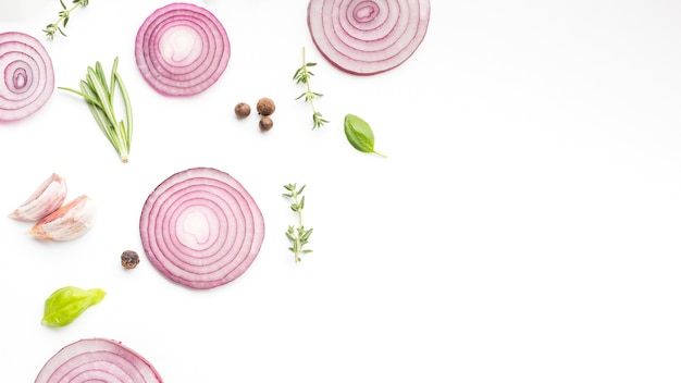 Copy-space onion rings with herbs Free Photo