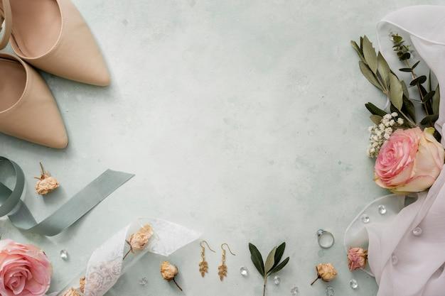 Copy-space свадебные декоративные украшения Premium Фотографии