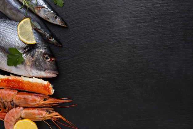 Copy-space with delicious mixed seafood Free Photo