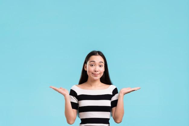 Copy-space woman wondering Free Photo