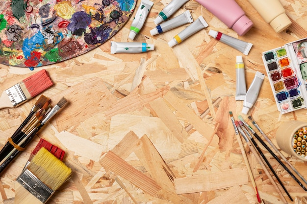 コピースペース木製の背景創造性アートスタジオ 無料写真