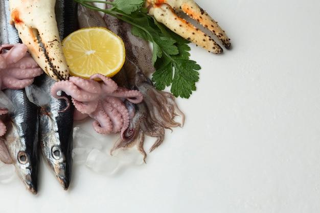 Copy-space микс вкусных морепродуктов Бесплатные Фотографии