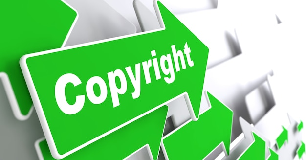 著作権。 「著作権」のスローガンが付いた緑の矢印。 3dレンダリング。 Premium写真