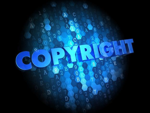 著作権-暗いデジタル背景に青色のテキスト。 Premium写真