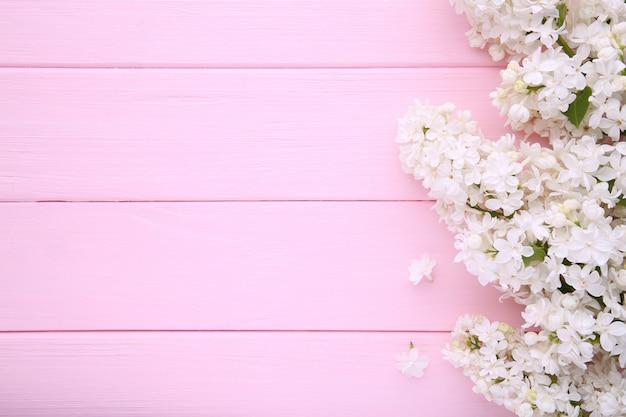 Copyspaceとピンクの背景に白いライラック色の花支店 Premium写真