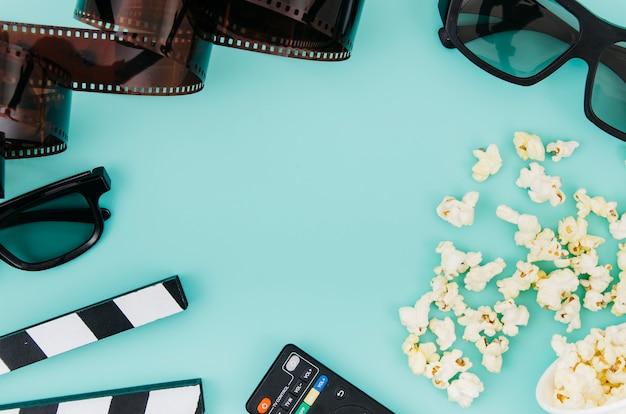 Плоская планировка элементов кино с copyspace Бесплатные Фотографии