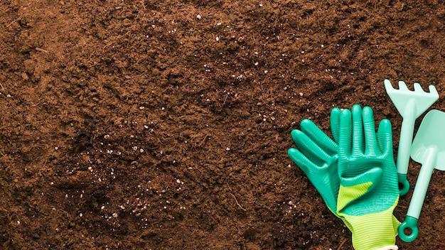 Плоская планировка садовых инструментов с copyspace Бесплатные Фотографии