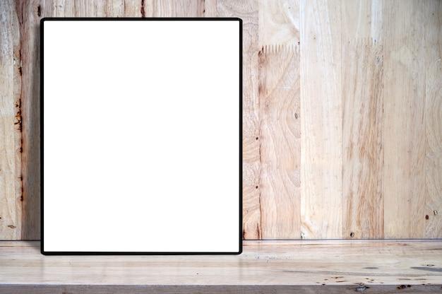 製品表示用copyspaceと木製のテーブルの上のモックアップ空白空白の図枠。 Premium写真