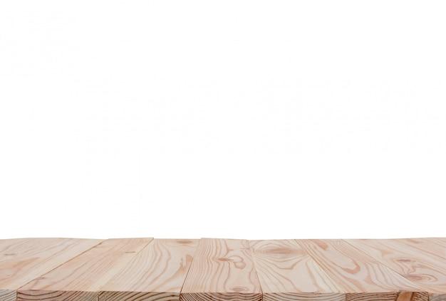 クリッピングパスとcopyspaceの表示またはあなたの製品のモンタージュと白い背景で隔離された空の木の板テーブルトップ Premium写真