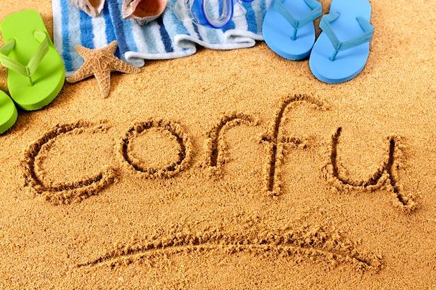 Corfu beach writing Free Photo