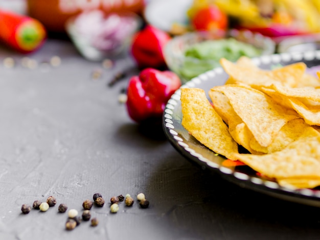 Corn chips with pepper Free Photo
