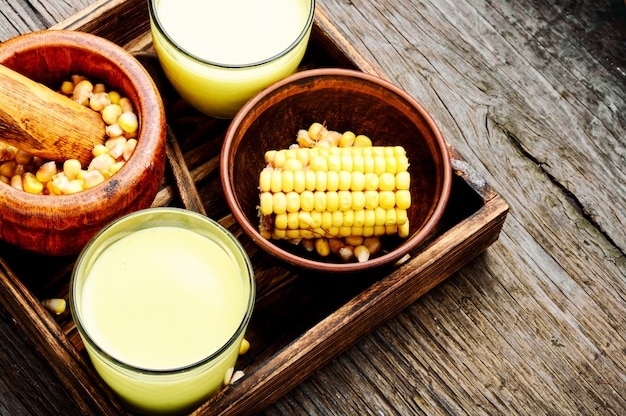 Corn milk in glass Premium Photo