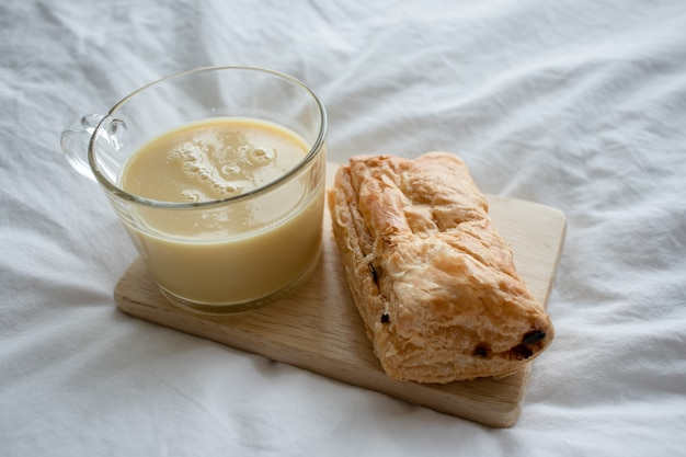 Corn milk with puff pastry. Premium Photo