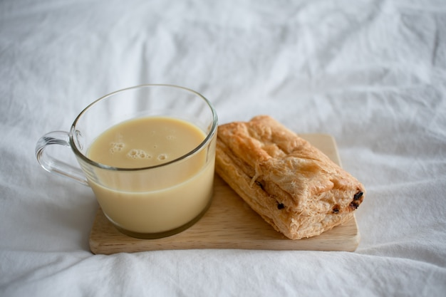 Corn milk with puff pastry. Premium Photo